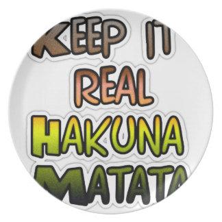 Hakuna Matata lo guarda los regalos reales Plato De Comida
