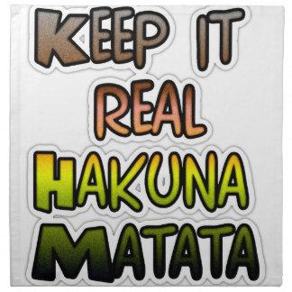 Hakuna Matata lo guarda los regalos reales Servilleta