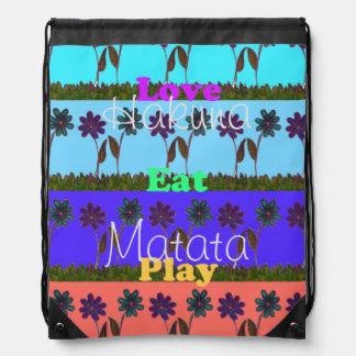 Hakuna Matata Love Eat Play Drawstring Backpack
