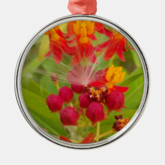 Hakuna Matata lovely green red yellow Flower Buds. Christmas Tree Ornament