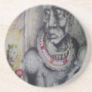 Hakuna Matata Masai Sandstone Coaster
