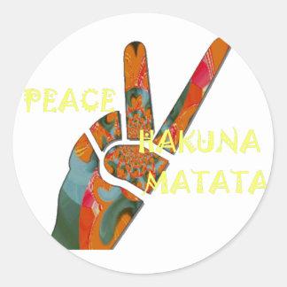 Hakuna Matata Peace Classic Round Sticker