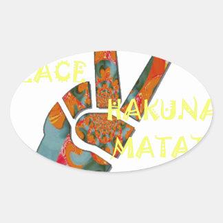 Hakuna Matata Peace Oval Sticker