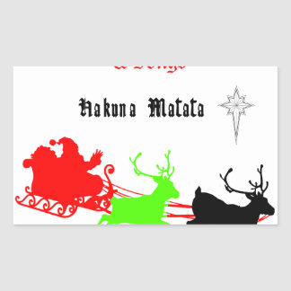 Hakuna Matata Santa's gifts with carol singing.png Rectangular Sticker