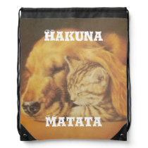 Hakuna Matata Stylish Cat-dog Drawstring Backpack