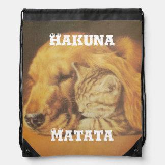 Hakuna Matata Stylish Cat-dog Drawstring Backpack