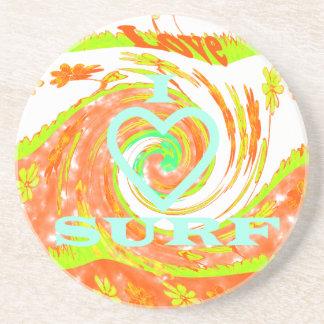 Hakuna Matata Summer Baby Kids I Love Surfing..png Sandstone Coaster