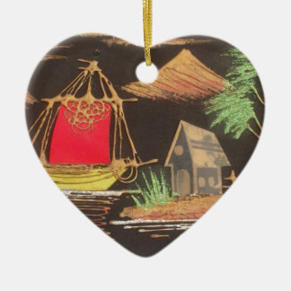 Hakuna Matata Trendy Vintage Sail Ship Safari Nigh Double-Sided Heart Ceramic Christmas Ornament