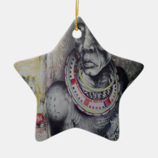 Hakuna Matata with Lions and Masai Star Ornament