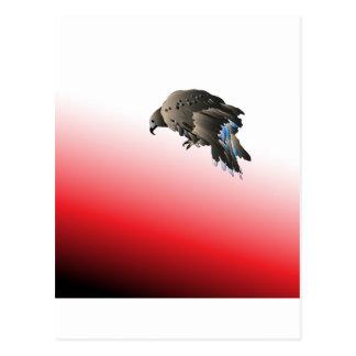 Halcón agresivo despredador del pájaro negro tarjetas postales