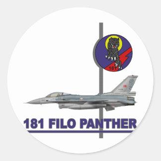 Halcón del F-16 de la pantera de 181 FILO Pegatina Redonda