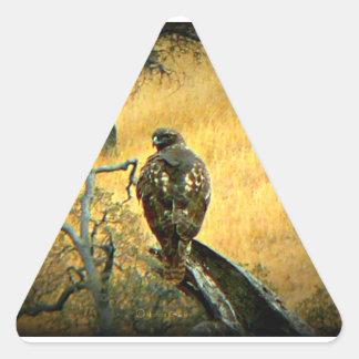 Halcón hermoso pegatina triangular