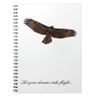 Halcón inspirado/ideal del diario en vuelo libros de apuntes