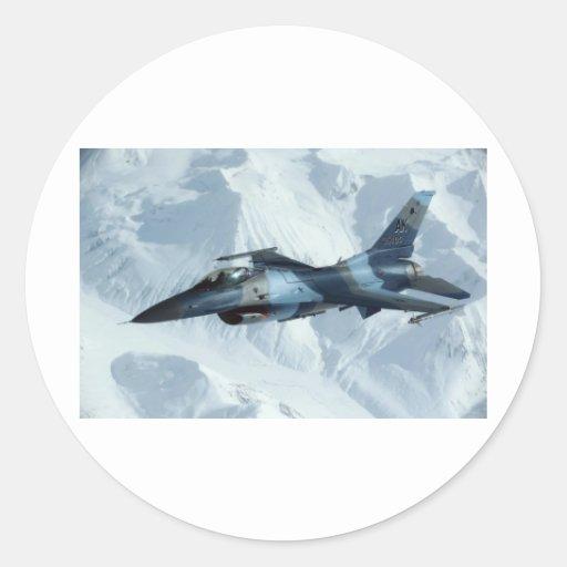 HALCÓN QUE LUCHA F-16 ETIQUETAS REDONDAS