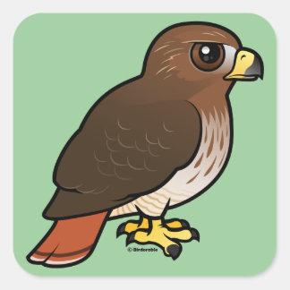 halcón Rojo-atado Pegatina Cuadrada