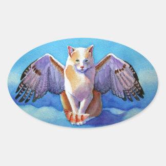 Halcón rojo de la cola del gato del ángel pegatina ovalada