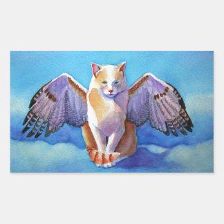 Halcón rojo de la cola del gato del ángel pegatina rectangular