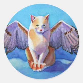 Halcón rojo de la cola del gato del ángel pegatina redonda