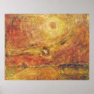 Halcón rojo de la cola - viento póster