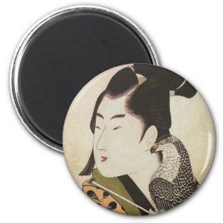 Halconero japonés en un arte del vintage del kimon imán redondo 5 cm