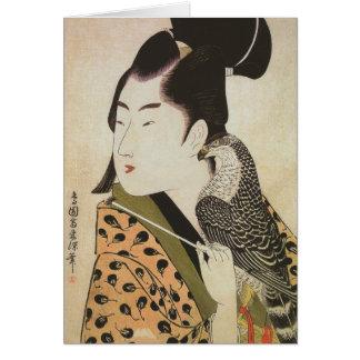 Halconero japonés en un arte del vintage del kimon tarjetas