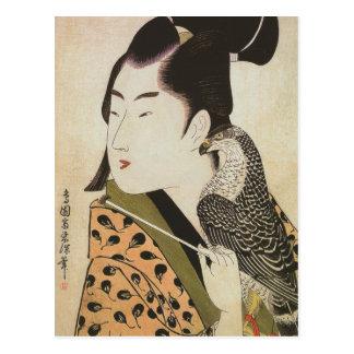 Halconero japonés en un arte del vintage del postal