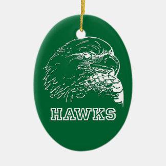 Halcones en óvalo verde adorno navideño ovalado de cerámica
