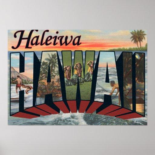 Haleiwa, Hawaii - Large Letter Scenes Print