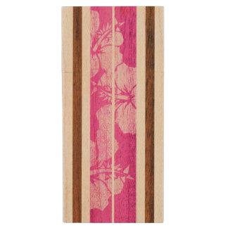 Haleiwa Surfboard Hawaiian Hibiscus Striped Wood USB 2.0 Flash Drive