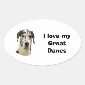Halequin Great Dane pet photo Oval Sticker
