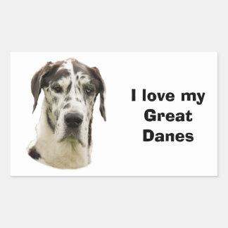 Halequin Great Dane pet photo Rectangular Sticker