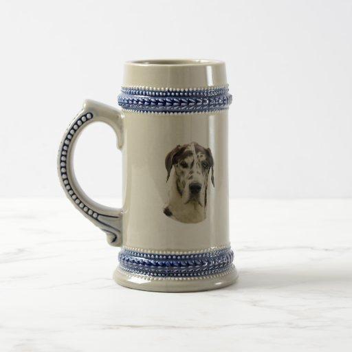 Halequin Great Dane portrait photo Mugs