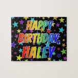 "[ Thumbnail: ""Haley"" First Name, Fun ""Happy Birthday"" Jigsaw Puzzle ]"