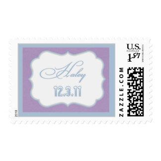Haley script no glitter silver edge postage stamp