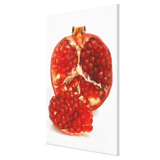Half a ripe pomegranate cut to expose the juicy canvas print