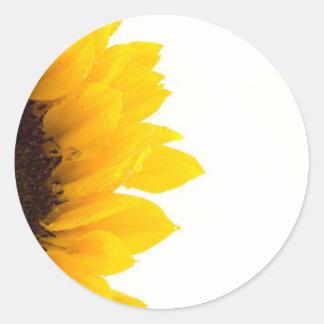 Half a Sunflower Classic Round Sticker