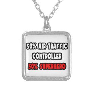 Half Air Traffic Controller ... Half Superhero Square Pendant Necklace