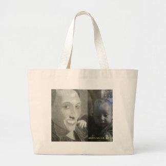 half and half black and white picture jumbo tote bag