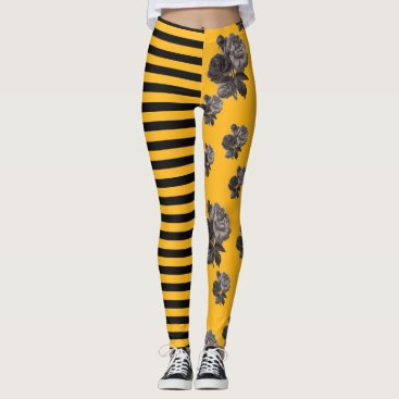Halloween Themed Half and Half Stripe Rose Floral Black and Gold Leggings