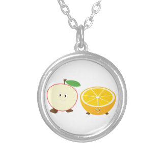 Half apple and half orange characters custom jewelry