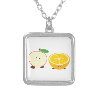 Half apple and half orange characters square pendant necklace