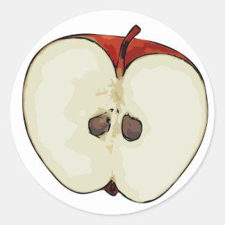 Half Apple Classic Round Sticker
