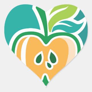 Half apple Core Isolated Design Heart Sticker