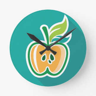 Half apple Core Isolated Design Round Clock