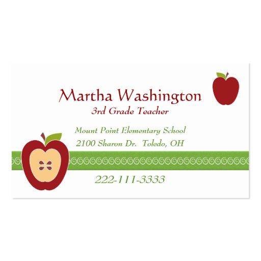 Half Apple Teacher s Business Card