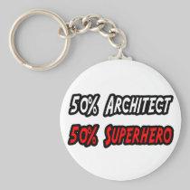 Half Architect Half Superhero Basic Round Button Keychain