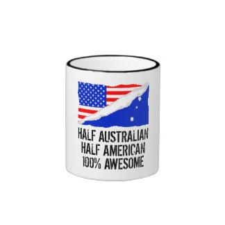 Half Australian Half American Awesome Ringer Mug