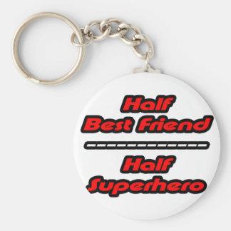 Half Best Friend Half Superhero Basic Round Button Keychain