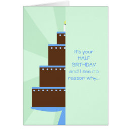 Half birthday cards greeting photo cards zazzle half birthday card half birthday cake bookmarktalkfo Image collections