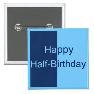 Half Birthday Card Pinback Button